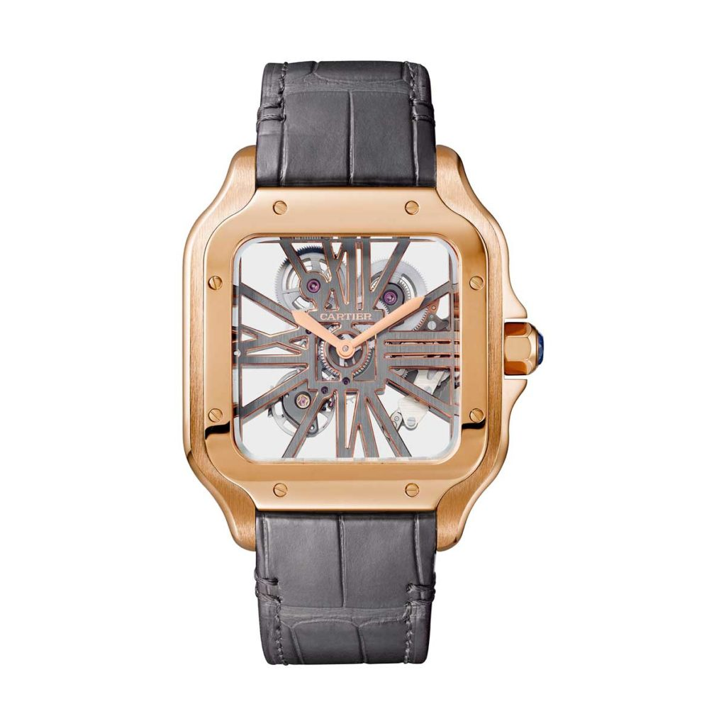 Large 2018 Cartier Santos-Skeleton in pink gold (©Cartier)