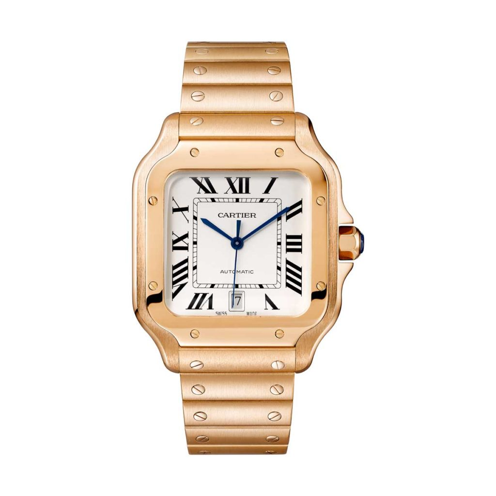 Large 2018 Cartier Santos in pink gold (©Cartier)