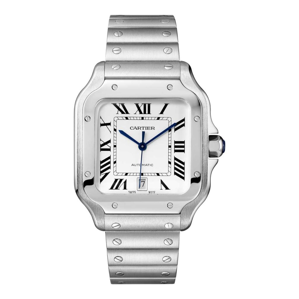 Large 2018 Cartier Santos in steel (©Cartier)