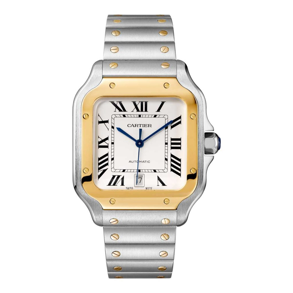 Large 2018 two-tone Cartier Santos in yellow gold (©Cartier)