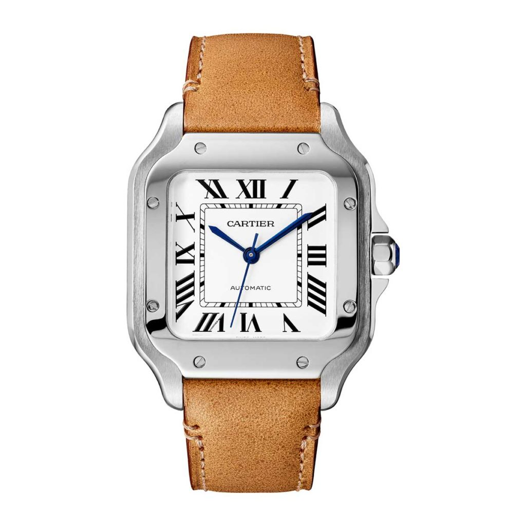 Medium 2018 Cartier Santos in steel (©Cartier)