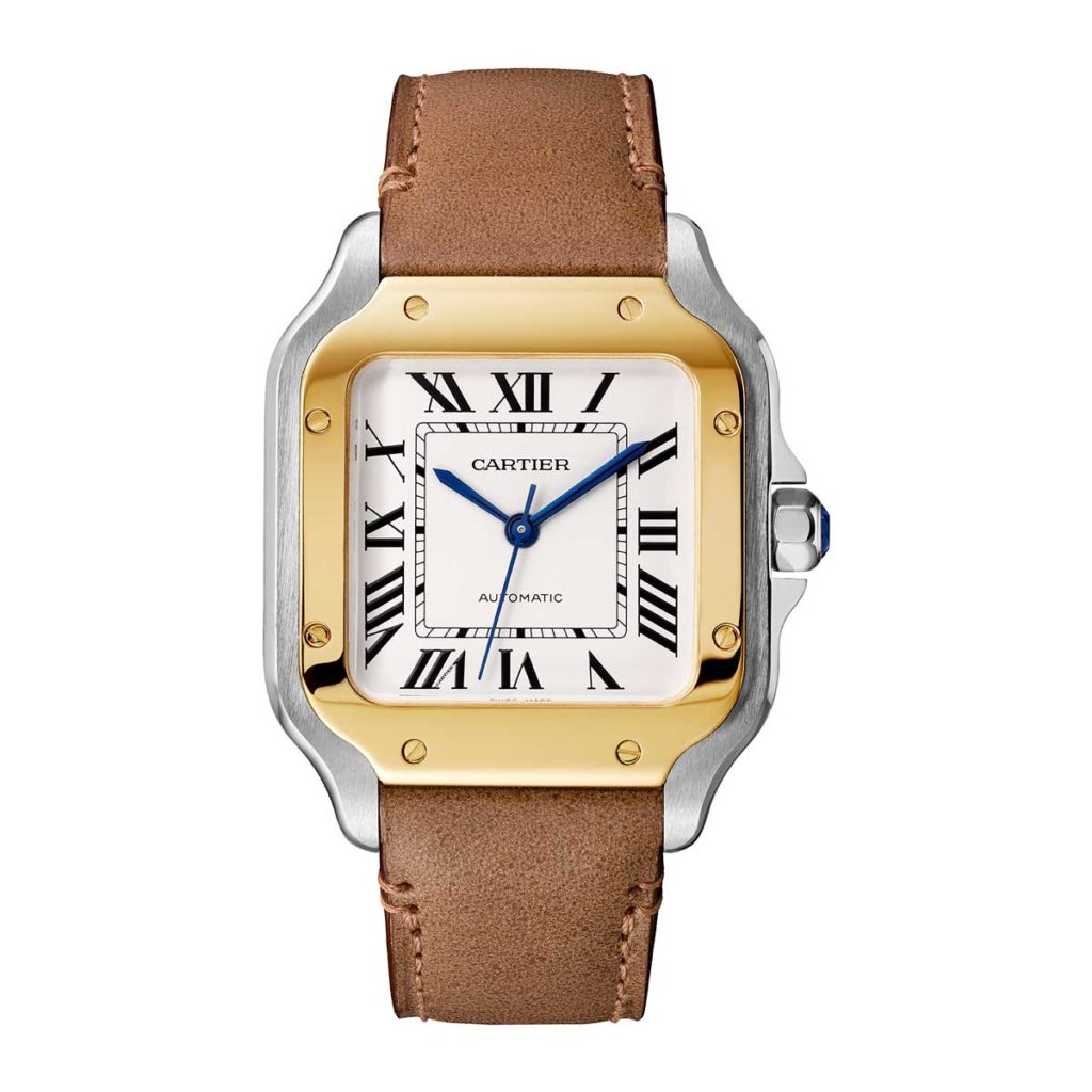Medium 2018 two-tone Cartier Santos in yellow gold (©Cartier)