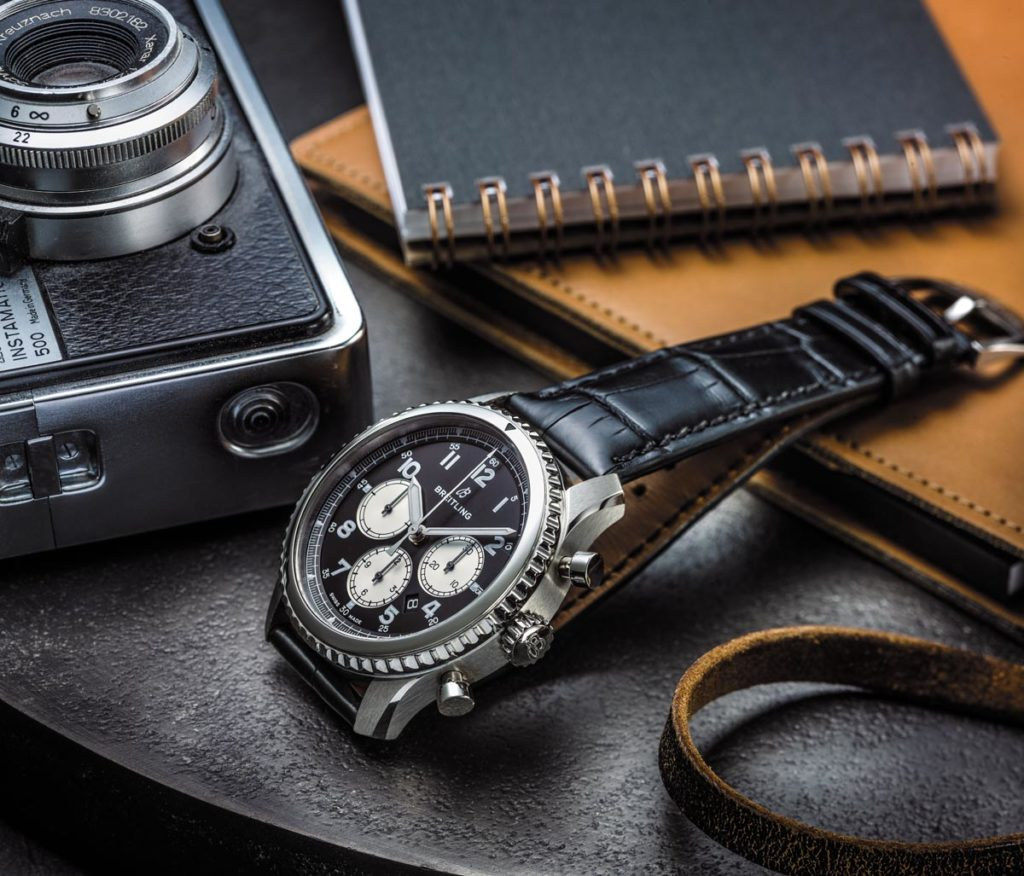 Navitimer 8 B01 with black dial and black alligator strap. (PPR/Breitling)