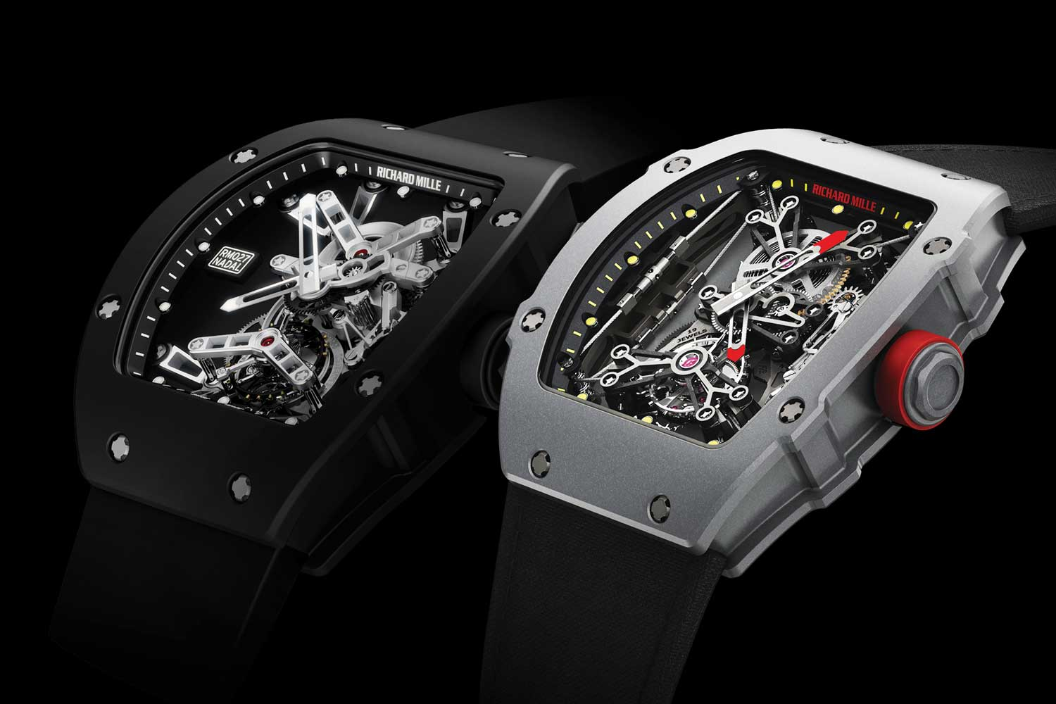 The Richard Mille watches that were specially engineered for Rafael Nadal: the RM 027 (left) and RM 27-01