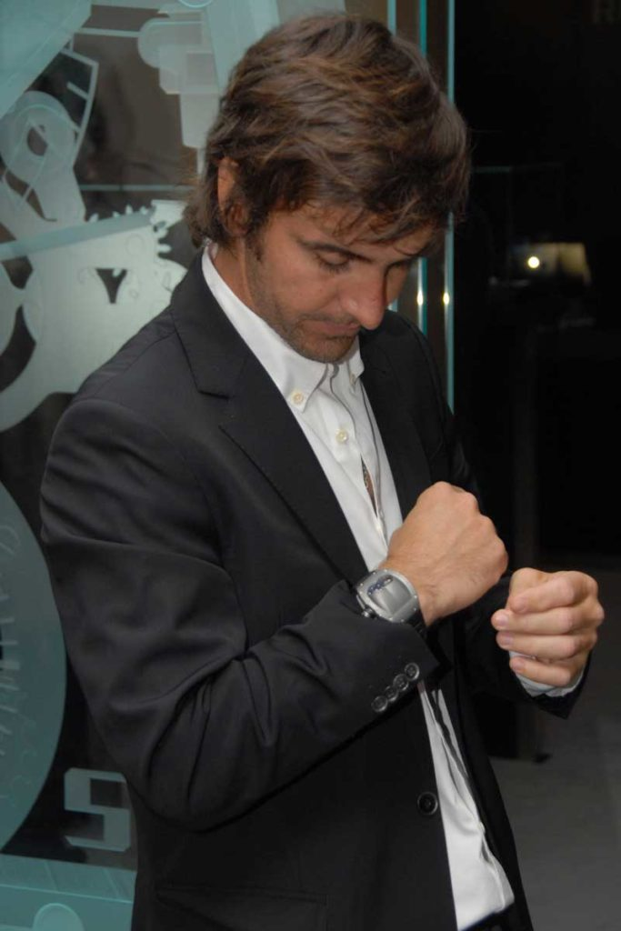 Pablo Mac Donough showing off his RM 053 when he first received it at SIHH 2012 (Image © Andrew Hildreth)