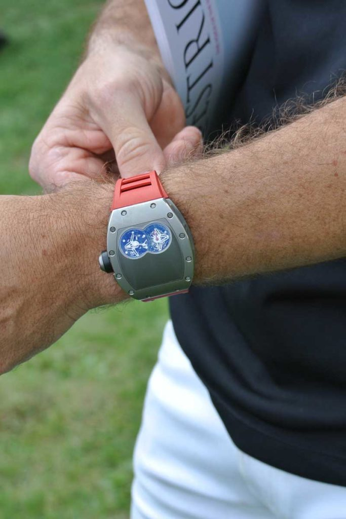 Pablo Mac Donough's battle worn RM 053 on his wrist at Chantilly in 2016 (Image © Andrew Hildreth)