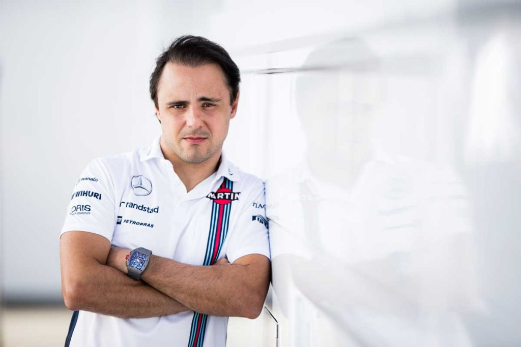 Felipe Massa of Williams and Brazil during day one of F1 winter testing at Circuit de Catalunya on March 1, 2016 in Montmelo, Spain. On his wrist, the Richard Mille RM 011 Automatic Flyback Chronograph (Photo by Peter J Fox/Getty Images)