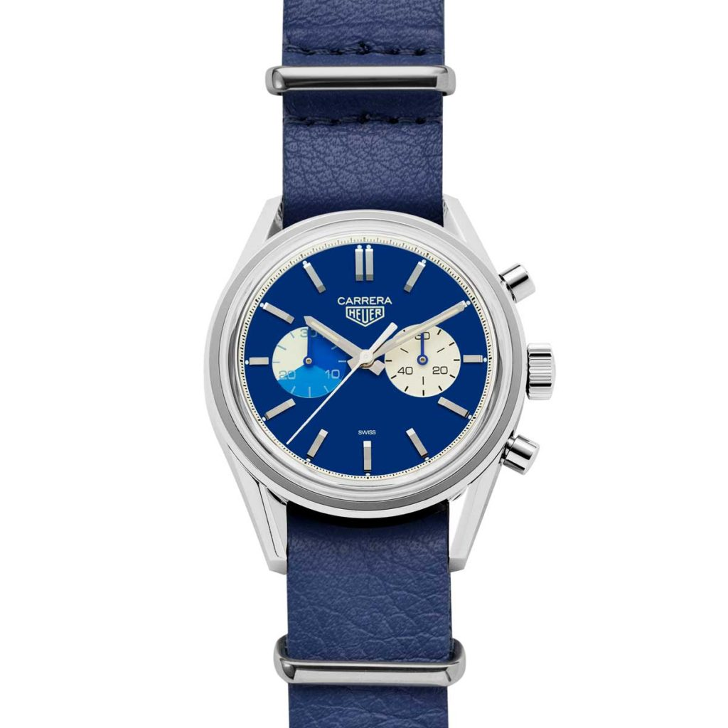 The Revolution x TAG Heuer timepiece on sky blue leather