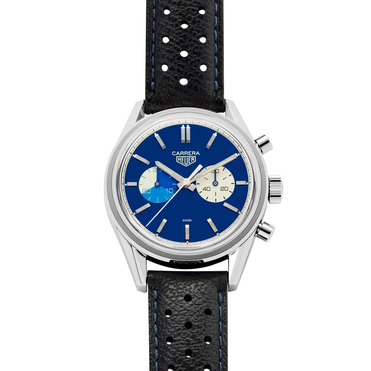 The Revolution x TAG Heuer timepiece on its original blue leather strap