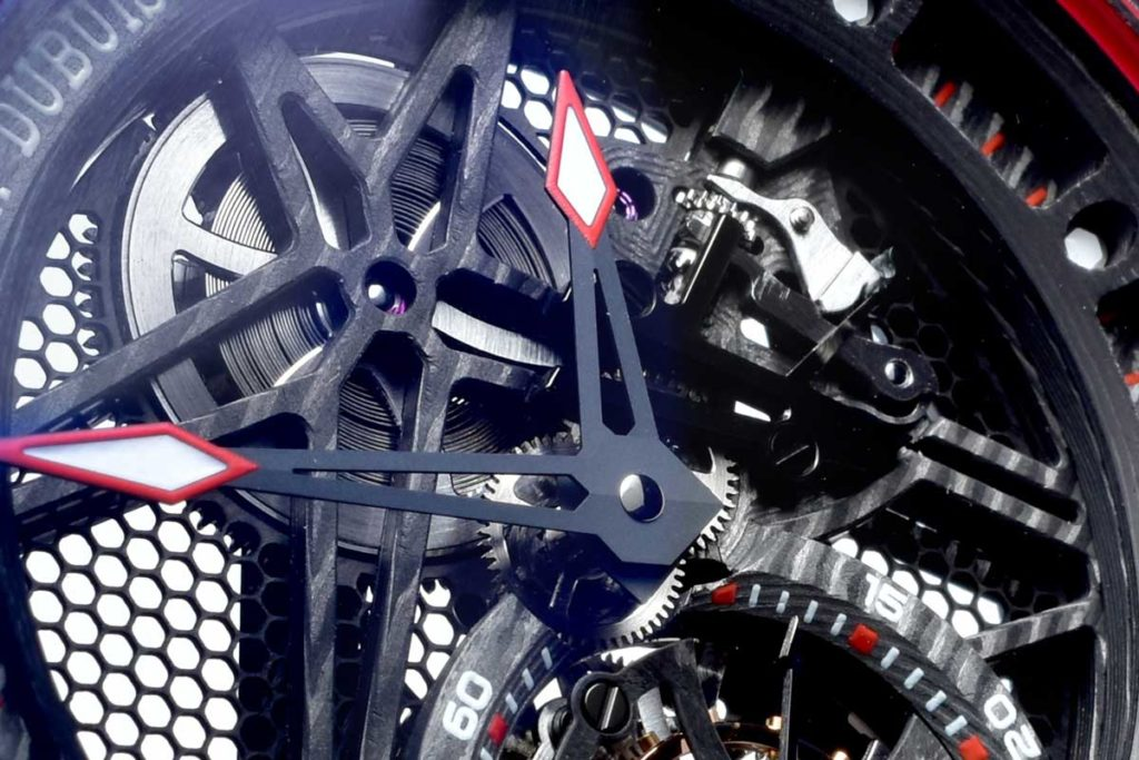 Barrel bridge of the Roger Dubuis Excalibur Spider Carbon Skeleton Flying Tourbillon (Image © Revolution)