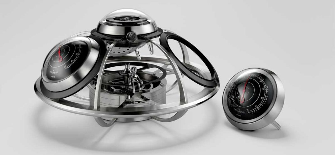 MB&F and L'Epée 1839 present The Fifth Element, a clock, barometer, hygrometer, and thermometer — and an alien spacecraft — all in one.