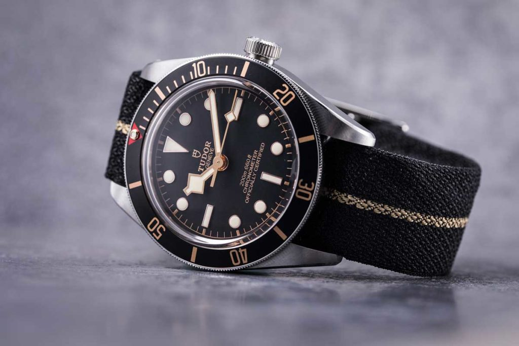 The 39mm Black Bay Fifty-Eight fitted on one of Tudor's excellent fabric straps (© Revolution)