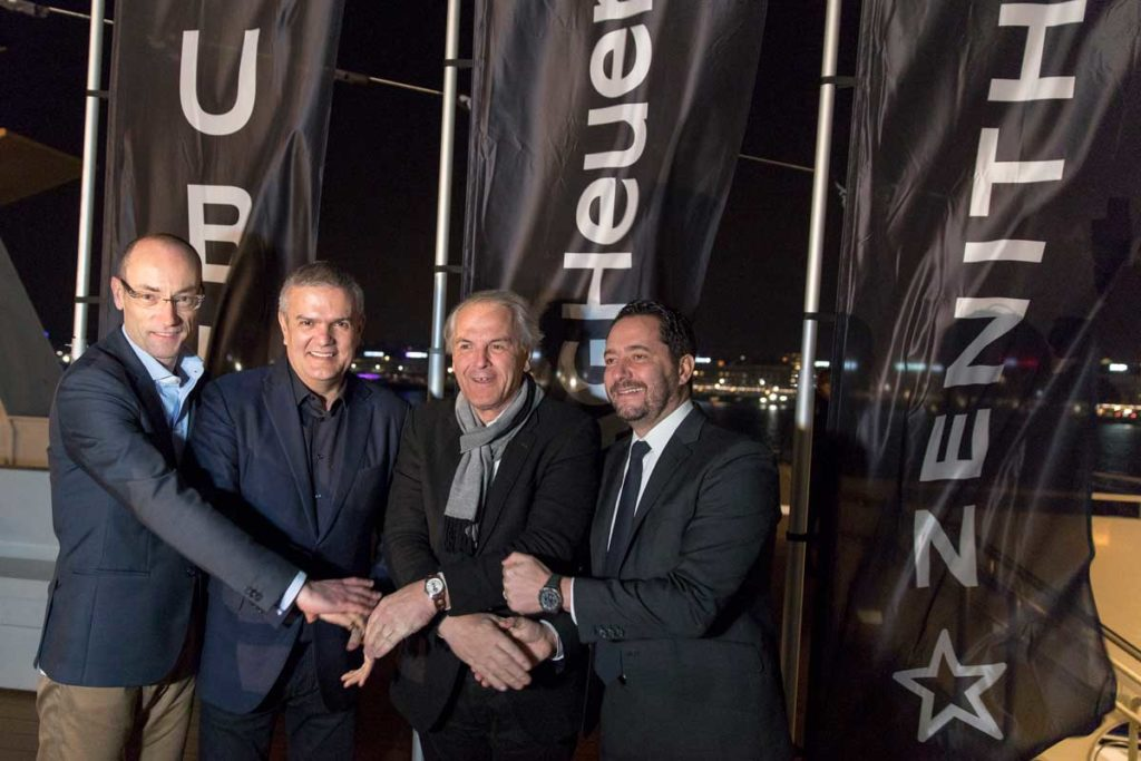 (From left) Luc Decroix, Vice President International Sales and Retail TAG Heuer, Ricardo Guadalupe, CEO of Hublot, mayor of the city of Geneva, Remy Pagani and Julien Tornare, CEO of Zenith on the opening night of Geneva Days 2018
