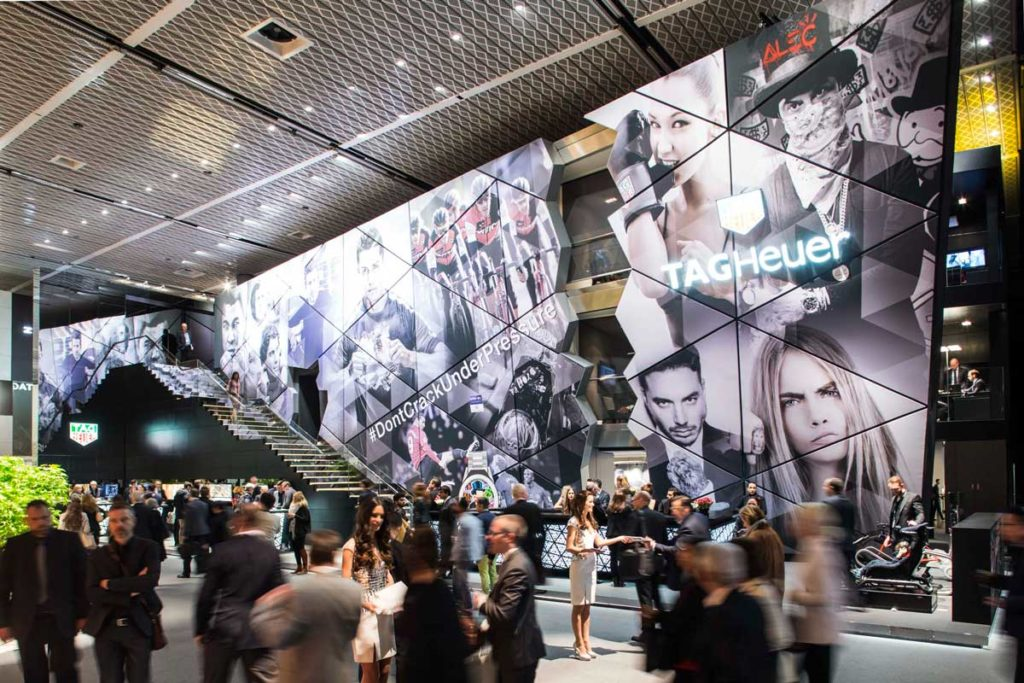 TAG Heuer's booth, located just on the right of the main entrance of Hall 1 at Baselworld