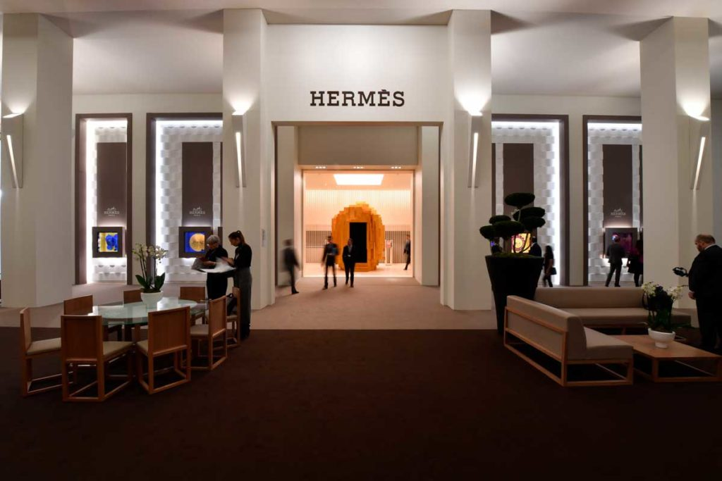 Entrance to the Hermès booth at SIHH 2018, their first time at the Geneva fair