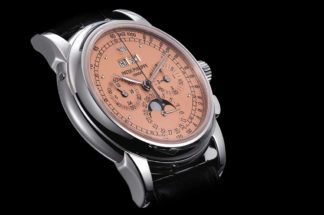 "The salmon-dial ""end-of-series"" Patek Philippe ref. 5970 perpetual calendar chronograph sold in May 2014 by Christie's for approximately USD 400,000 (Image: christies.com)"