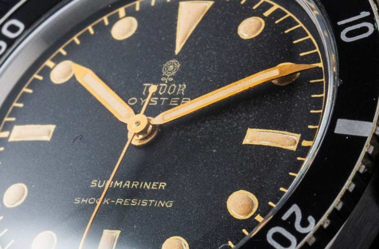 The 1955 Tudor Oyster Submariner ref. 7923 with the unusual pencil hands for both the hour and minutes (© Revolution)