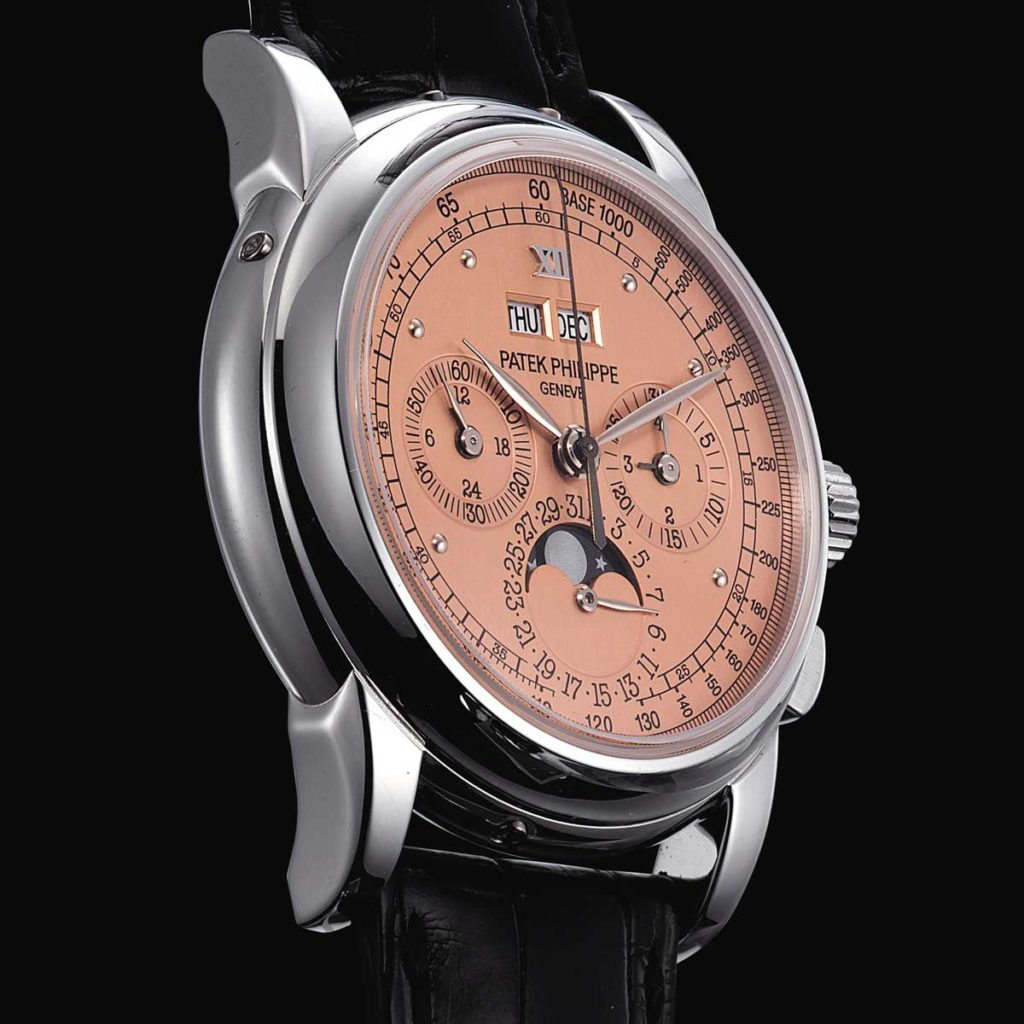 "The salmon-dial ""end-of-series"" Patek Philippe ref. 5970 perpetual calendar chronograph sold in May 2014 by Christie's for approximately USD 400,000. This example was produced by the brand in 2011, a year after production of the 5970 had ceased (2004 - 2010). (Image: christies.com)"