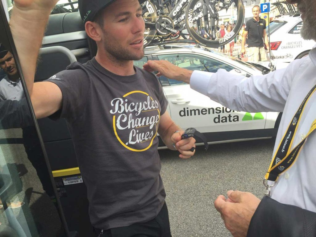 A dumbfounded Mark Cavendish as Richard Mille hands him the RM 011 Felipe Massa, off his own wrist, before the start of Stage 5 of the Tour de France 2016 (Image: Bill Springer)