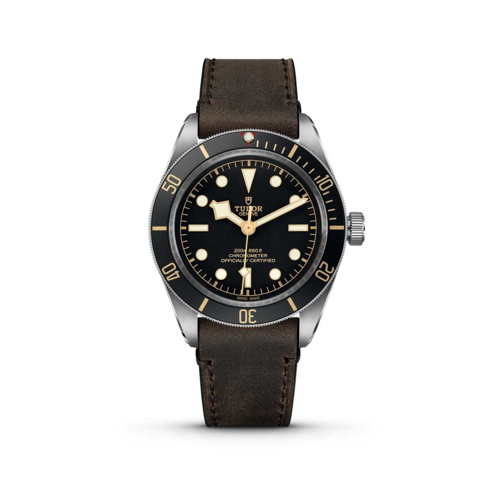 The Black Bay Fifty-Eight on a brown leather strap