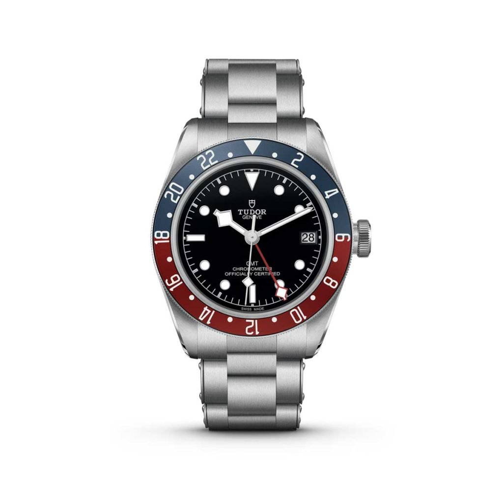 The Tudor Black Bay GMT on a steel bracelet with visible rivets