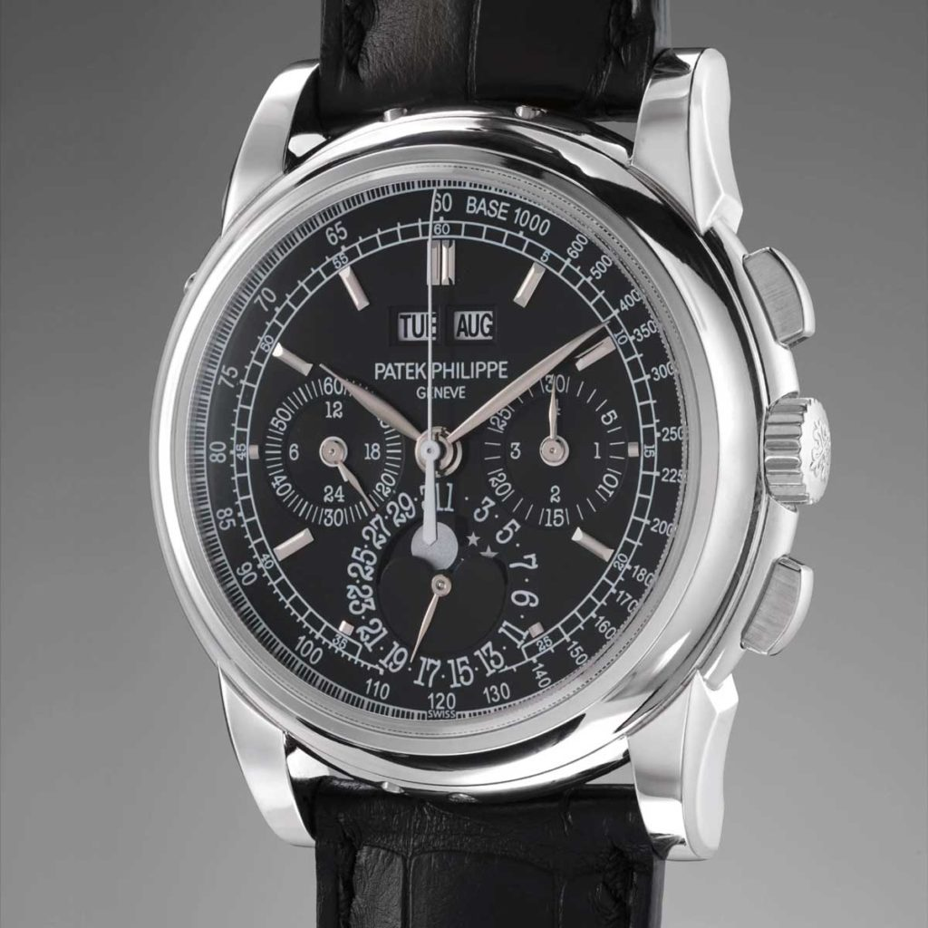 An exceptional instance of the Patek Philippe perpetual calendar chronograph ref. 5970 in platinum. This instance was sold by Phillips Watches at their Geneva Auction: FIVE in November 2017 for CHF 187,500 (Image: phillipswatches.com)