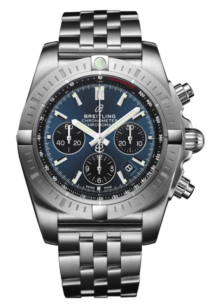 Chronomat B01 Chronograph 44 with Blackeye Blue dial and Pilot stainless steel bracelet. (PPR/Breitling)