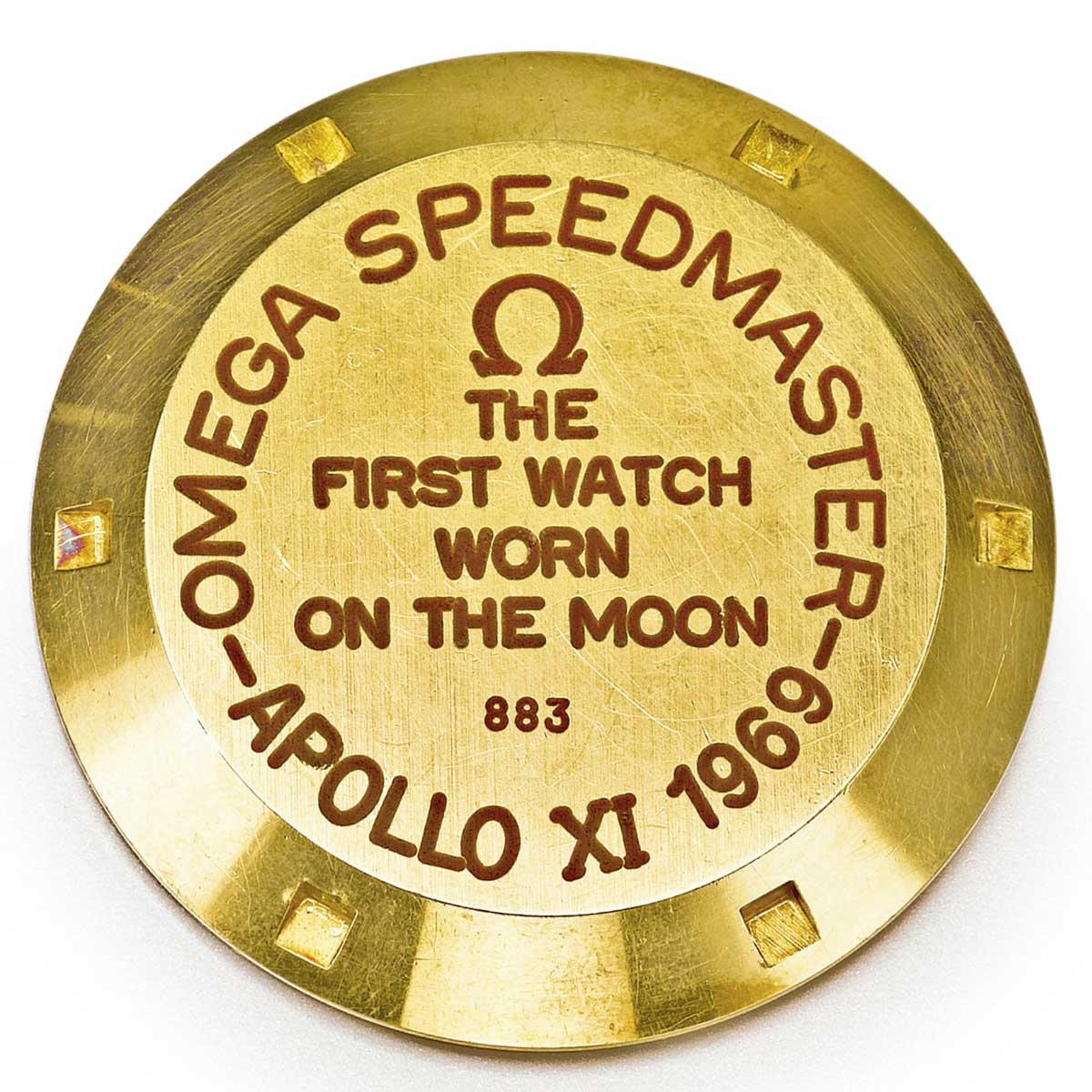"The examples of the Speedmaster BA 145.022 that were intended to be sold to the public, in some instances, had the inscription, ""The First Watch Worn On the Moon"" in red lacquer filled writing, followed by the number it was out of 1014 made (Image: sothebys.com)"