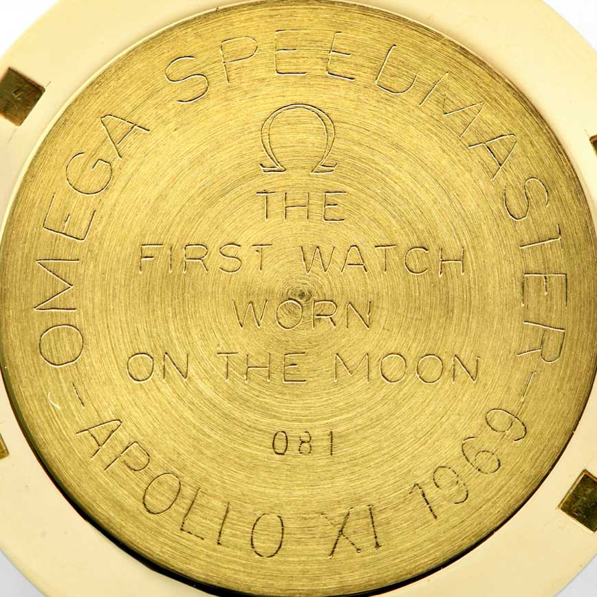 """The examples of the Speedmaster BA 145.022 that were intended to be sold to the public had the inscription, """"The First Watch Worn On the Moon"""" followed by the number it was out of 1014 made (Image: antiquorum.swiss)"""