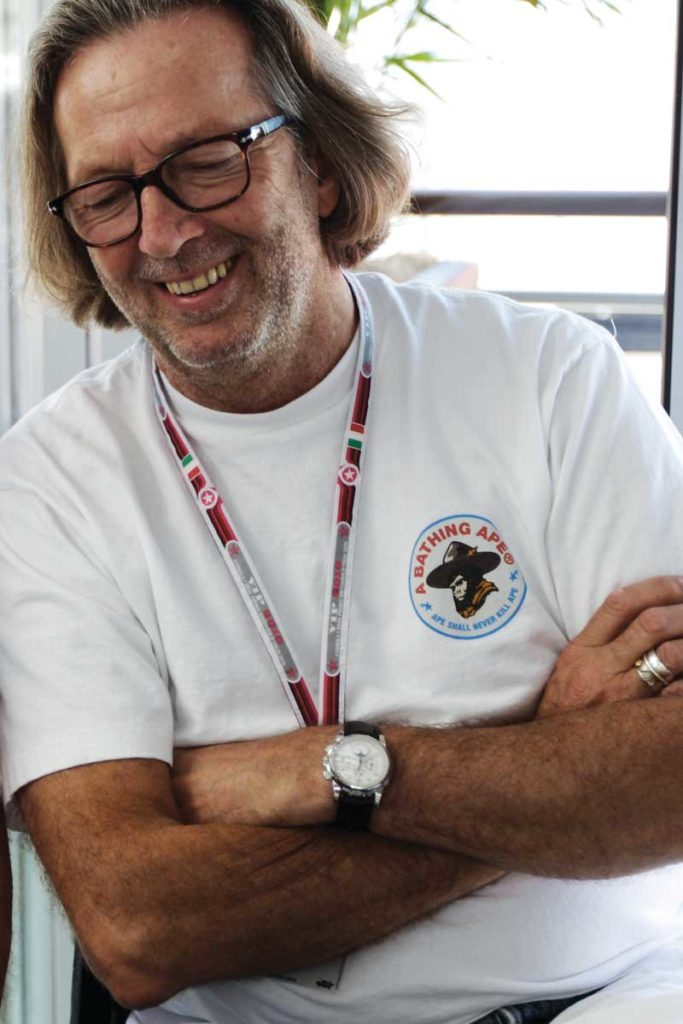 Eric Clapton wearing his 5970 with white-metal case and Breguet numerals while attending the qualifying stage of 2010's Italian Grand Prix (Photo by Mark Thompson/Getty Images)