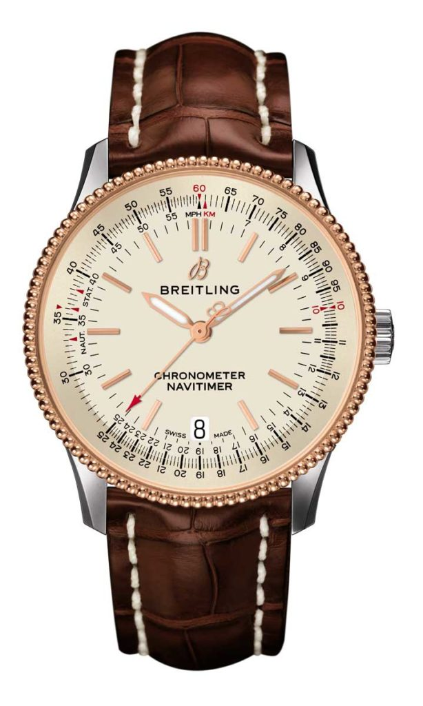 Navitimer 1 Automatic 38 in steel & gold with silver dial and brown alligator leather strap