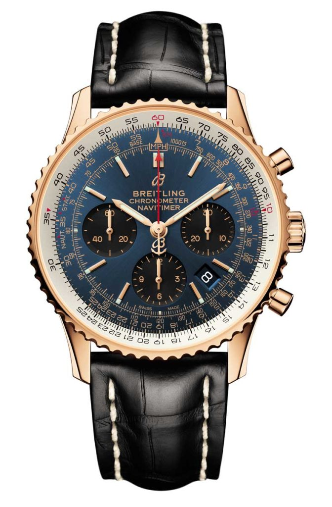 Navitimer 1 B01 Chronograph 43 in 18 k red gold with blue dial and black alligator leather strap