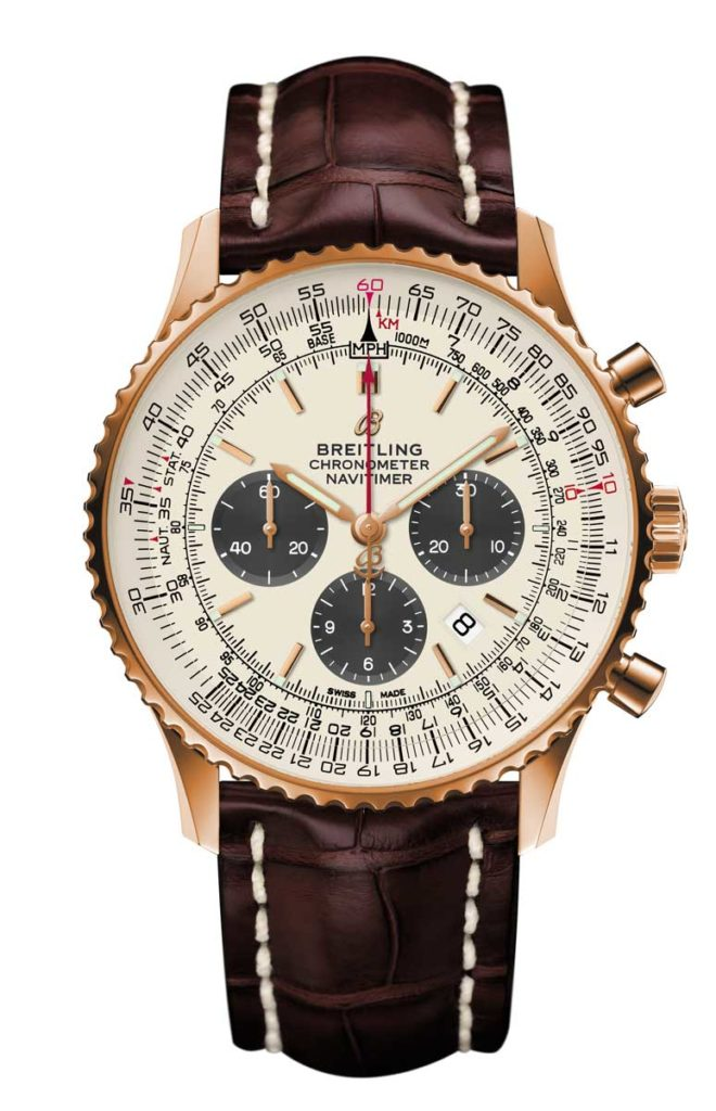 Navitimer 1 B01 Chronograph 46 in 18 k red gold with silver dial and brown alligator leather strap