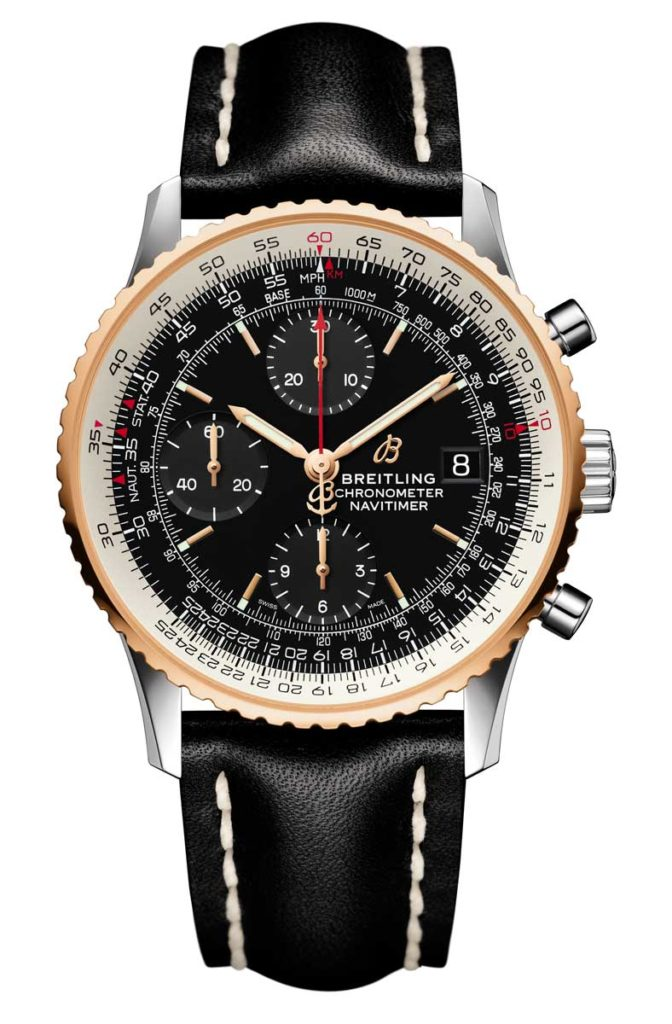 Navitimer 1 Chronograph 41 in steel gold with black dial and black leather strap