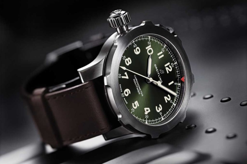 Navitimer Super 8 in titanium with Military green dial and brown Nato leather strap. (PPR/Breitling)