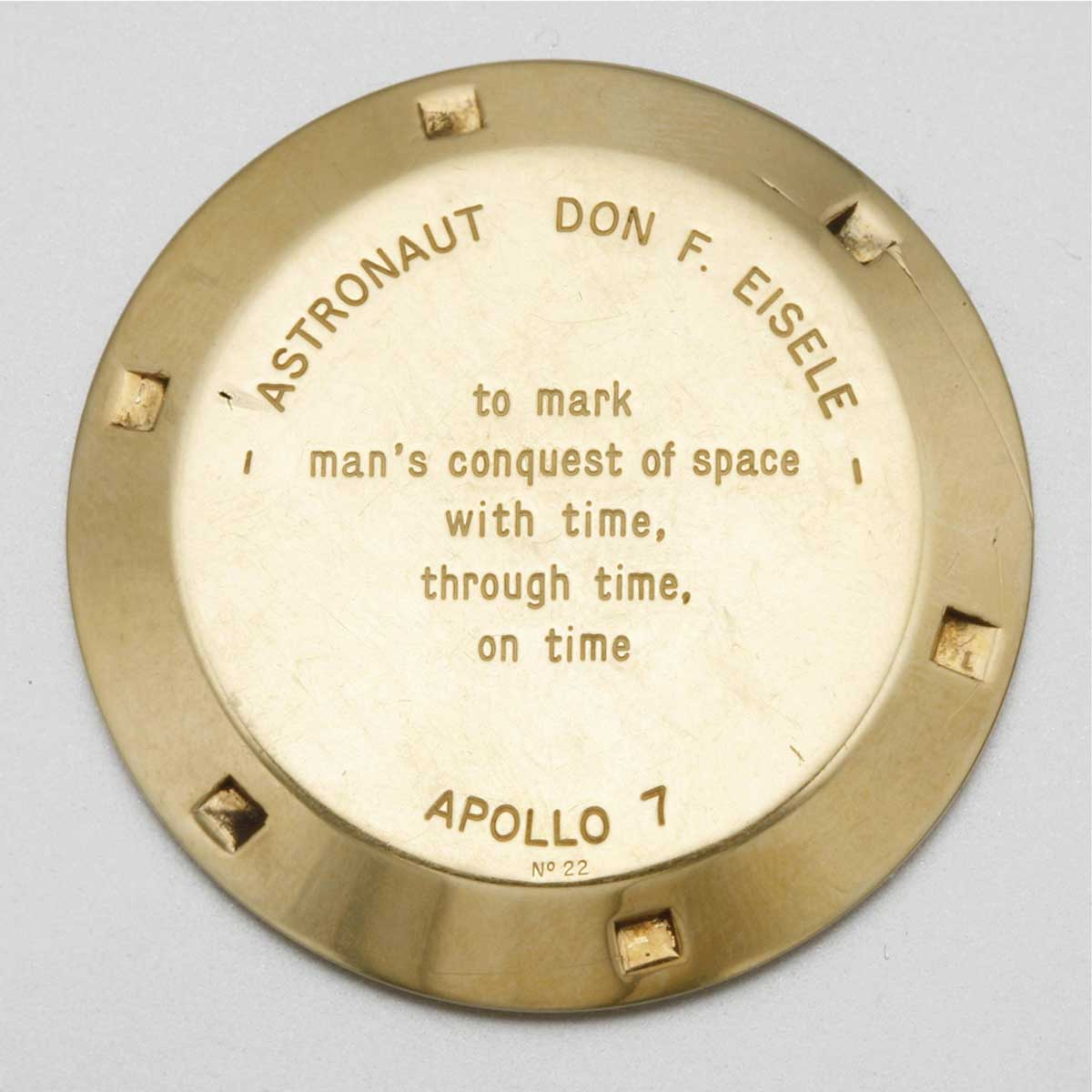 """The examples of the Speedmaster BA 145.022 that were gifted to relevant individuals, were inscribed with the lines, """"to mark man's conquest of space with time, through time, on time"""" (Image: sothebys.com)"""