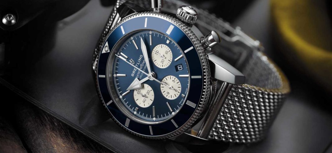 Superocean Heritage II B01 Chronograph 44 with blue dial and Ocean Classic steel bracelet. (PPR/Breitling)