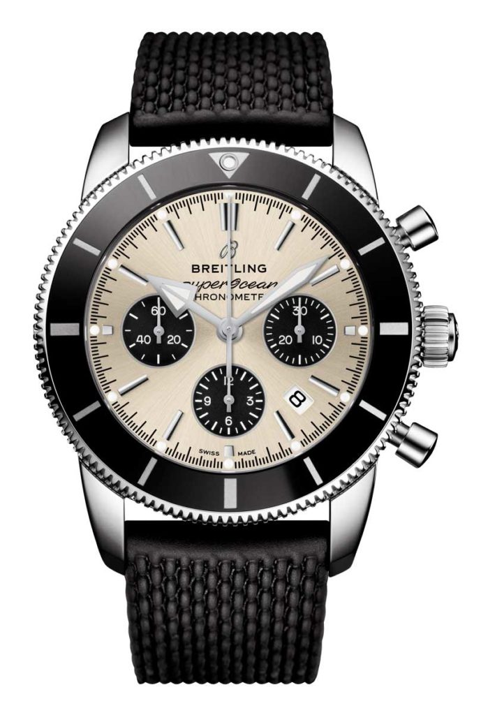 Superocean Heritage II B01 Chronograph 44 with silver dial and black Aero Classic rubber strap