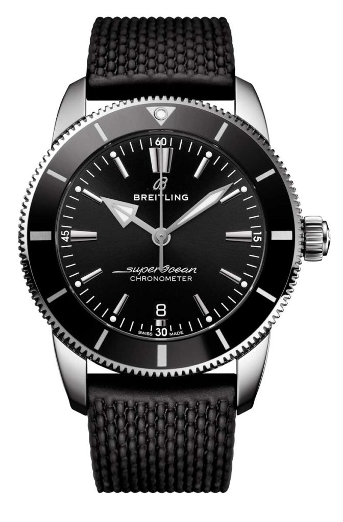 Superocean Heritage II B20 Automatic 44 with back dial and black Aero Classic rubber strap