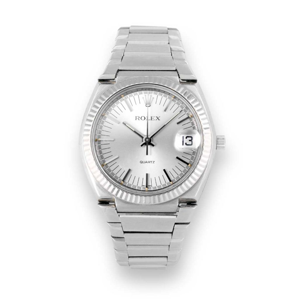 The Rolex Quartz 5100 in 18K white gold powered by the Beta 21 movement (Image: antiquorum.swiss)
