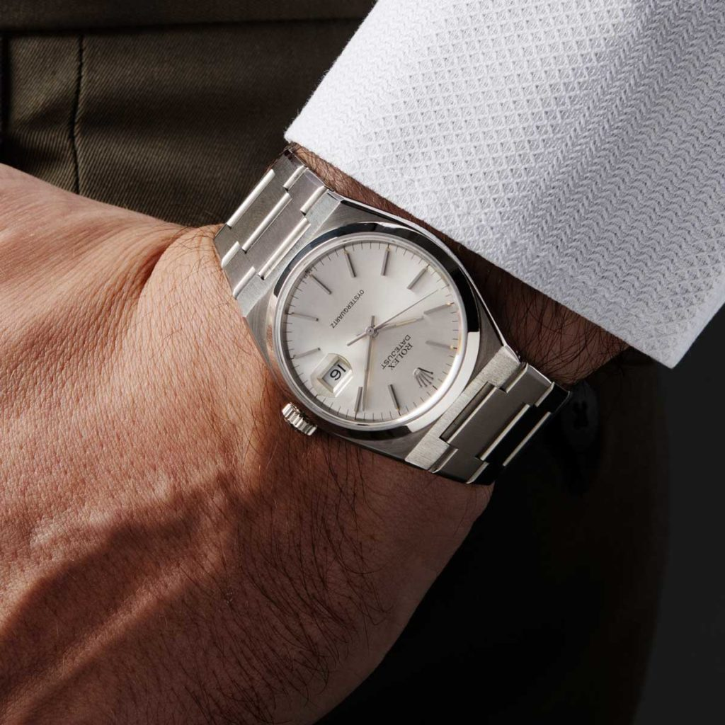 On the wrist, the earliest Rolex Oysterquartz, the Mk1 17000 that had a movement, which had not been sent to COSC (© Revolution)