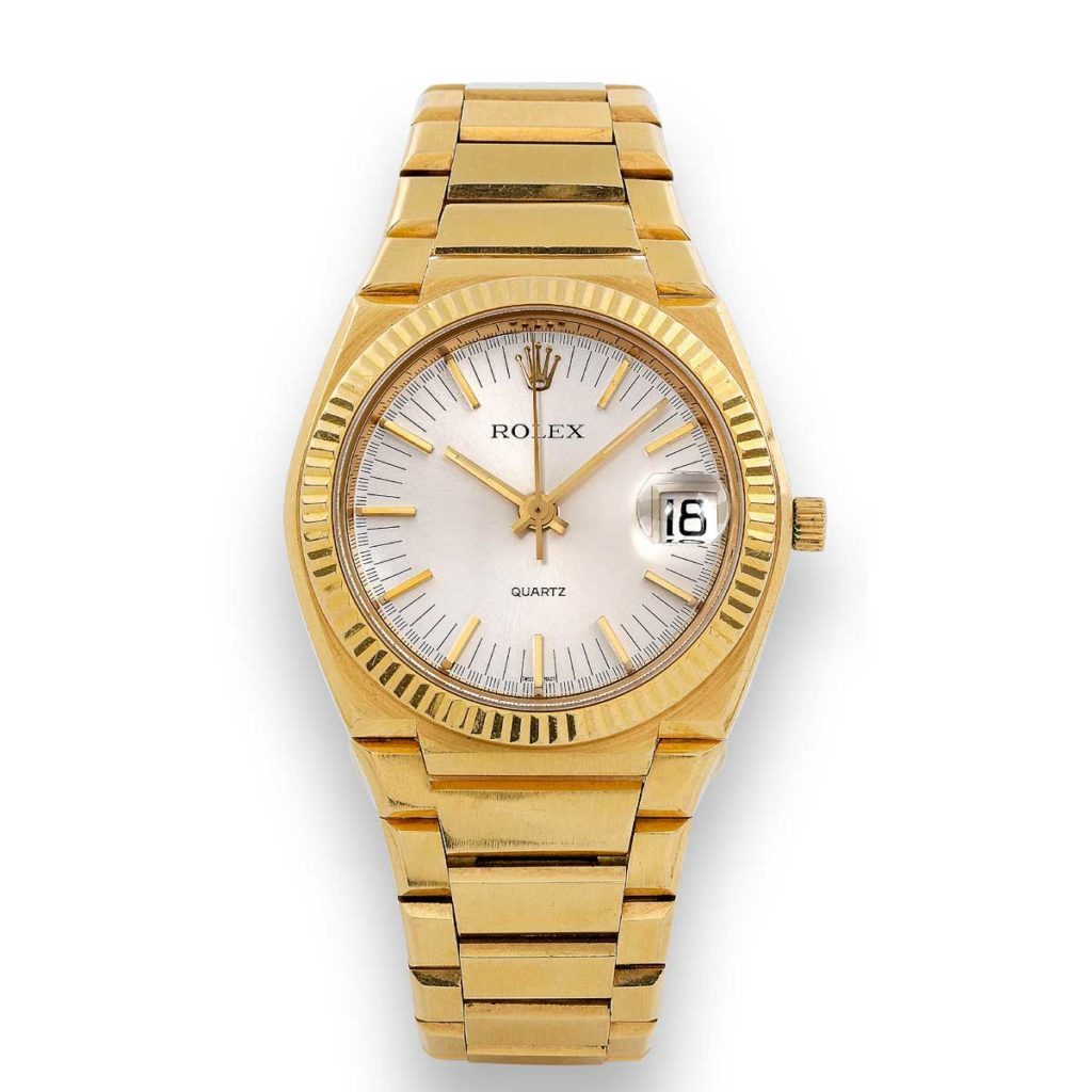 The Rolex Quartz 5100 in 18K yellow gold powered by the Beta 21 movement (Image: antiquorum.swiss)