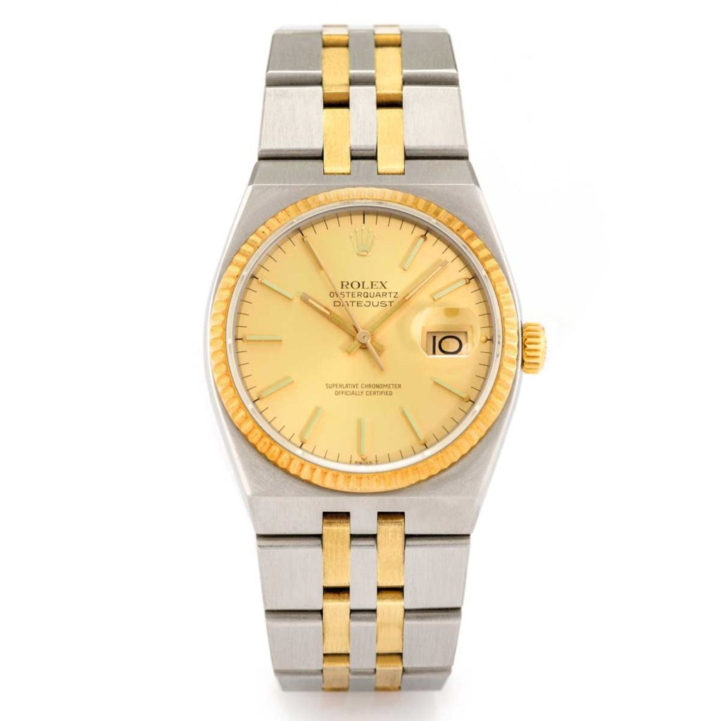 Rolex Oysterquartz - 17013 Steel and Yellow Gold Datejust (Image: antiquorum.swiss)