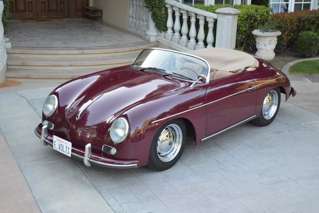 An all electric Beck Speedster, fashioned after the Porsche 356 Speedster