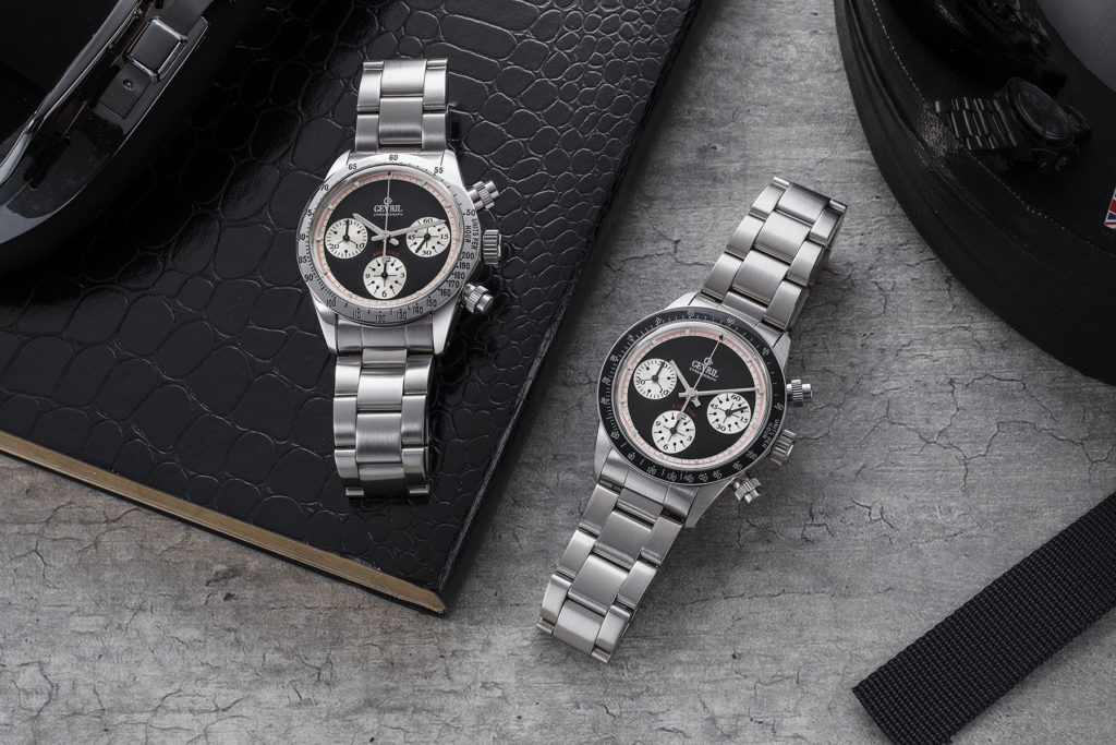 NOS Gevril Tri-Color Tribeca witha steel bezel on the left and black ceramic bezel on the right (© Revolution)