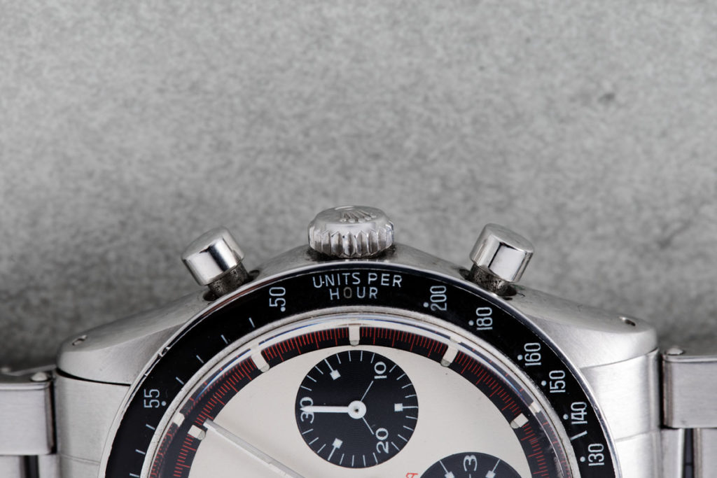 Case side and pump-pushers on the 6241 Rolex Paul Newman Daytona