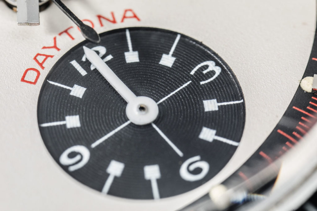"""Daytona"" written in red above the hours totalizer of the 6241 Rolex Paul Newman Daytona"