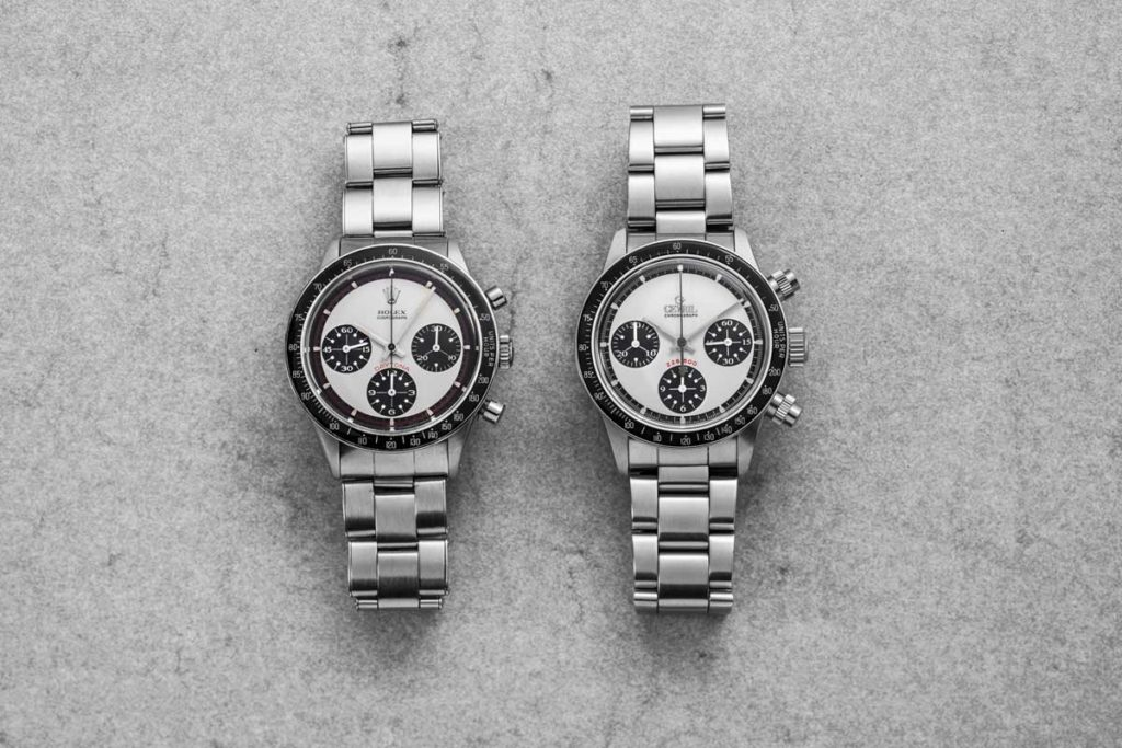 "6241 Rolex ""Paul Newman"" Daytona side-by-side with the Gevril ""Panda Dial"" Tribeca with black ceramic bezel (© Revolution)"