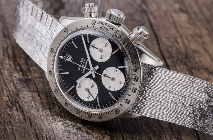 The one of a kind, white gold Rolex Daytona 6265, formerly owned by Rolex scholar and collector John Goldberger, to be auctioned off as part of the Daytona Ultimatum sale of Phillips Watches, on 12 May 2018 (© Revolution)