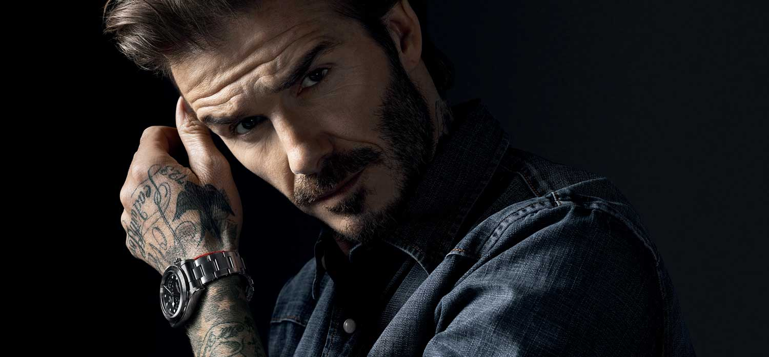 Tudor ambassador and soccer legend, David Beckham wearing the Black Bay Chronograph on a bracelet